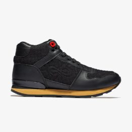 High Top Lace-Up Suede Sneakers Black