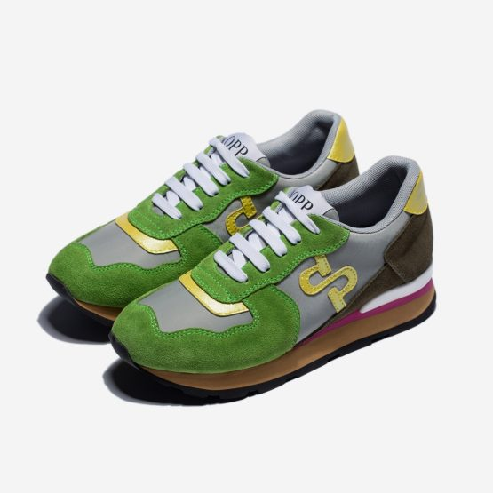 Women Lace-Up Suede Sneakers Green