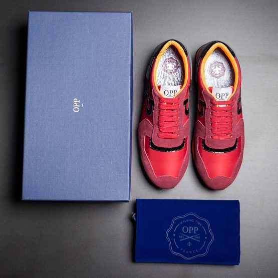 Lace-Up Suede Sneakers Red
