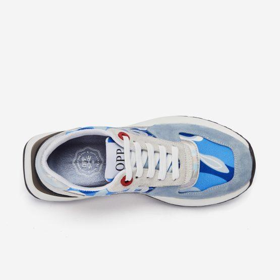 Women Lace-Up Suede Sneaker Light Blue