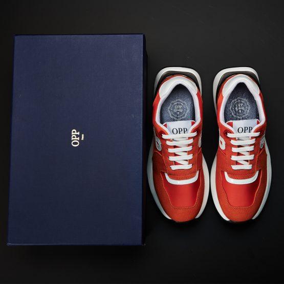 Women Lace-Up Suede Sneaker Orange Red