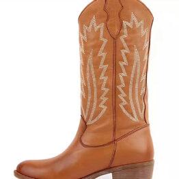 Women's Medium barrel embroidered thick heel Martin boots-Black