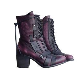 Women's Medium embroidered thick heel boots-Khaki