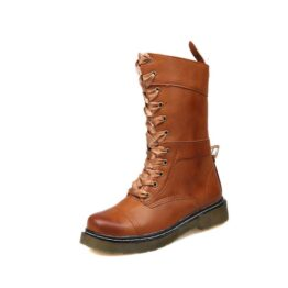 Women's middle tube front lace up Martin boots-Brown