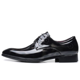 Men British Leather Shoes Gray