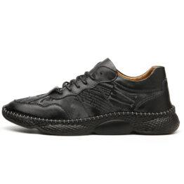 Men Vintage Leather Shoes Black
