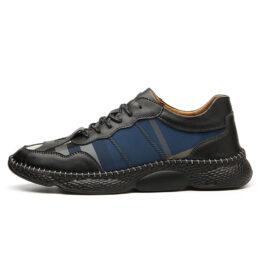Men Vintage Leather Shoes Blue