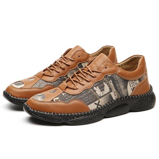 Men Vintage Leather Shoes Brown