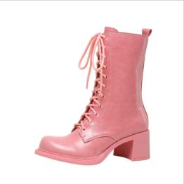 Women Thick High-heeled Boots Barbie Powder