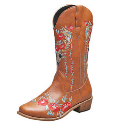 Woman's Retro Style Square Toe Block Heel Embroidered Brown Martin Boots