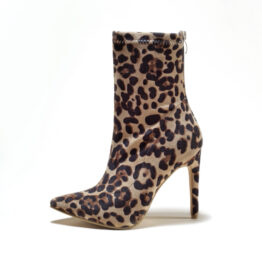 Women Leopard Print Pointed Toe Boots