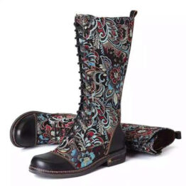 Women's Vintage thick heel high tube bandage embroidered large Knight boots-Black