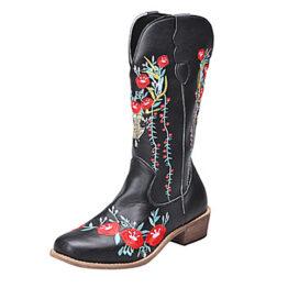 Woman's Retro Style Square Toe Block Heel Embroidered Black Martin Boots