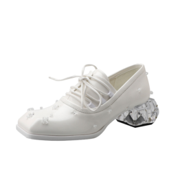 Women British Style Square Toe Crystal Leather Shoes