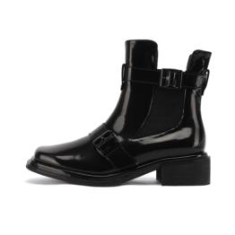 Women Square Toe Block Heel Martin Boots Black