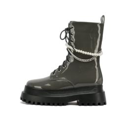 Women Patent Leather Platform Martin Boots Gray
