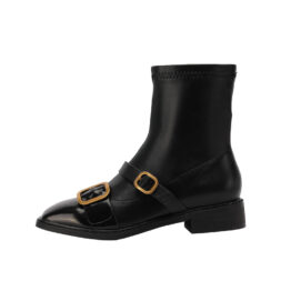 Women Metal Buckle Boots Black