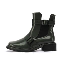 Women Square Toe Block Heel Martin Boots Green