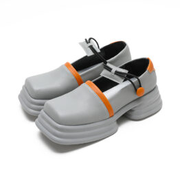Women Retro Color-blocking Platform Leather Shoes Gray