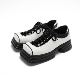 Women Hollow Platform Square Toe Leather Shoes White