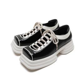 Women Hollow Platform Square Toe Leather Shoes Black