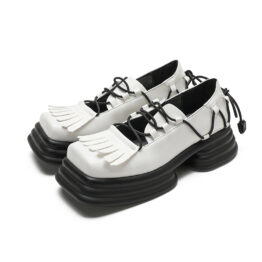 Women Vintage Vubber Band Lace-up Leather Shoes White