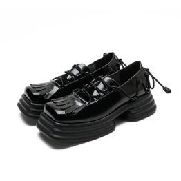 Women Vintage Vubber Band Lace-up Leather Shoes Black
