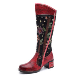 Women Casual Leather Retro Floral Ethnic Boots