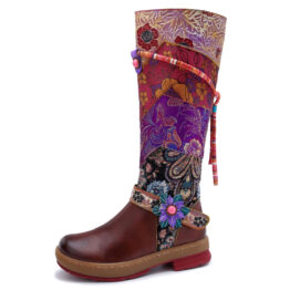 Women Round Toe Casual Retro Flat Boots