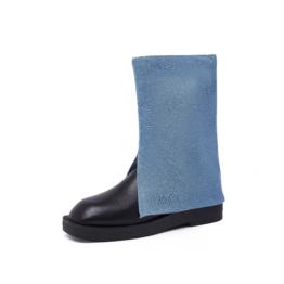 Women Bell-bottom Boots Blue