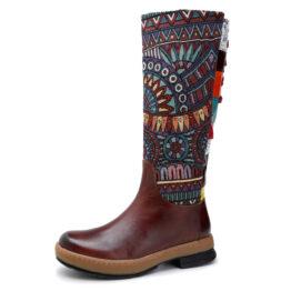 Women Fashion Tattoo Stitching Warm Boots
