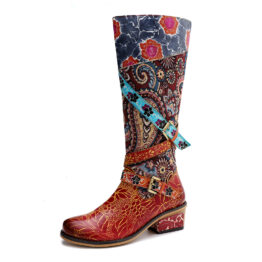 Women Vintage Heavy Industry Print Boots