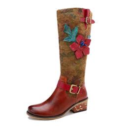 Women Casual Retro Flower Ethnic Boots
