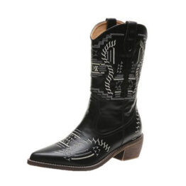 Casual women's boots with embroidered thread in the middle of Martin boots-Black